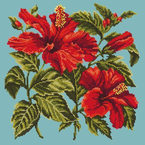 Hibiscus Needlepoint Kit Elizabeth Bradley Design Duck Egg Blue
