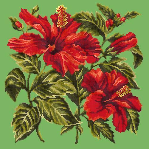 Hibiscus Needlepoint Kit Elizabeth Bradley Design Grass Green