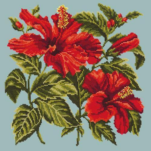 Hibiscus Needlepoint Kit Elizabeth Bradley Design Pale Blue
