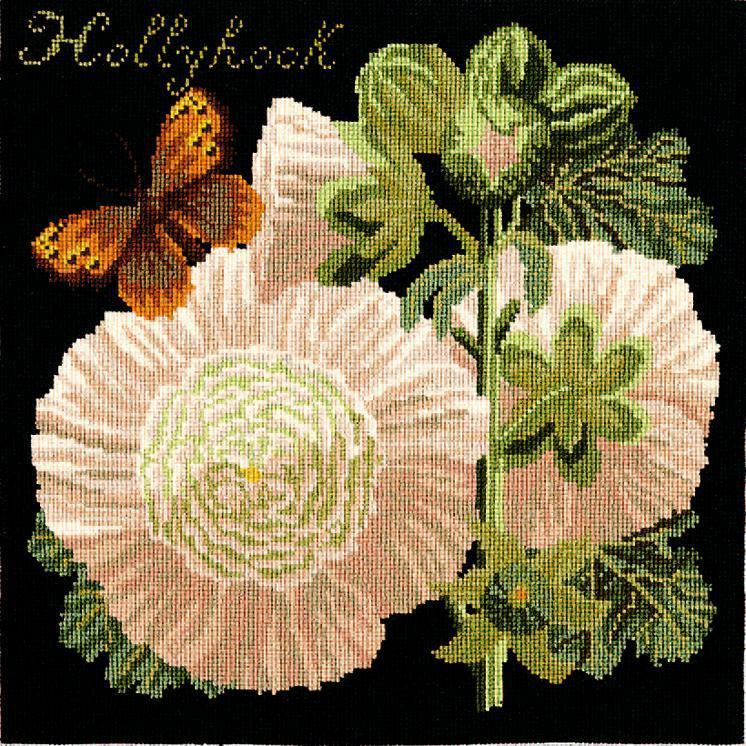 Hollyhock Needlepoint Kit Elizabeth Bradley Design Black