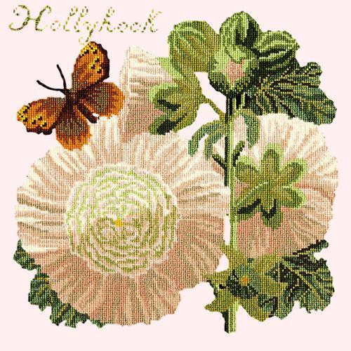 Hollyhock Needlepoint Kit Elizabeth Bradley Design Cream