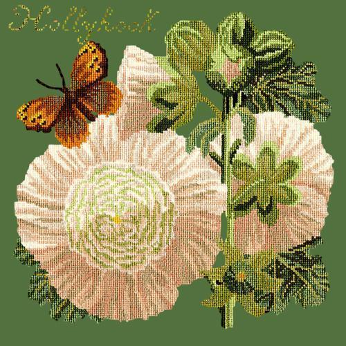 Hollyhock Needlepoint Kit Elizabeth Bradley Design Dark Green