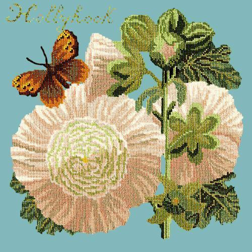 Hollyhock Needlepoint Kit Elizabeth Bradley Design Duck Egg Blue