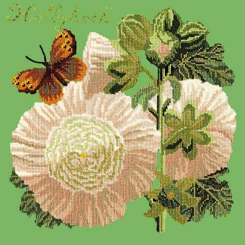 Hollyhock Needlepoint Kit Elizabeth Bradley Design Grass Green