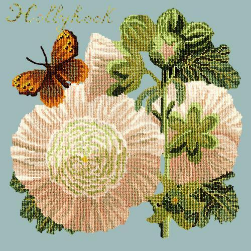 Hollyhock Needlepoint Kit Elizabeth Bradley Design Pale Blue