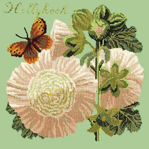 Hollyhock Needlepoint Kit Elizabeth Bradley Design Pale Green
