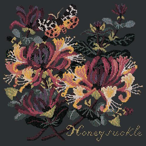 Honeysuckle Needlepoint Kit Elizabeth Bradley Design Black