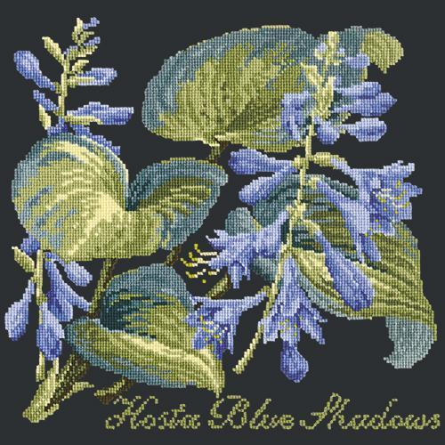 Hosta Blue Shadows Needlepoint Kit Elizabeth Bradley Design Black
