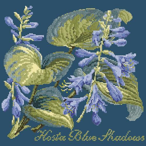 Hosta Blue Shadows Needlepoint Kit Elizabeth Bradley Design Dark Blue