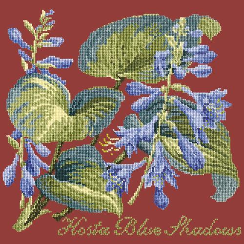 Hosta Blue Shadows Needlepoint Kit Elizabeth Bradley Design Dark Red