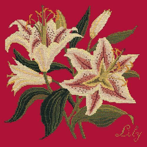 Lily Needlepoint Kit Elizabeth Bradley Design Bright Red