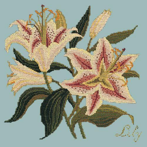 Lily Needlepoint Kit Elizabeth Bradley Design Pale Blue