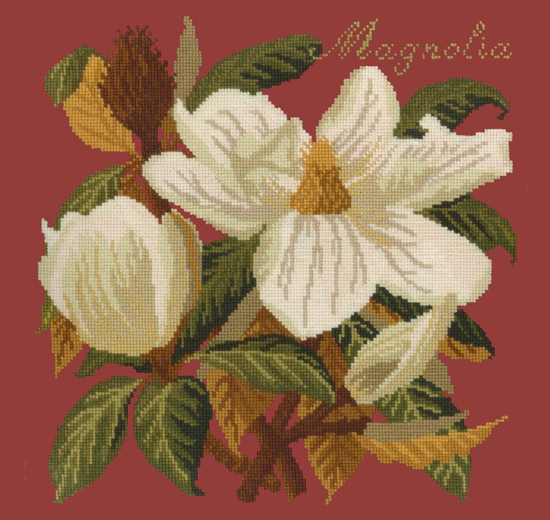Magnolia Needlepoint Kit Elizabeth Bradley Design Dark Red