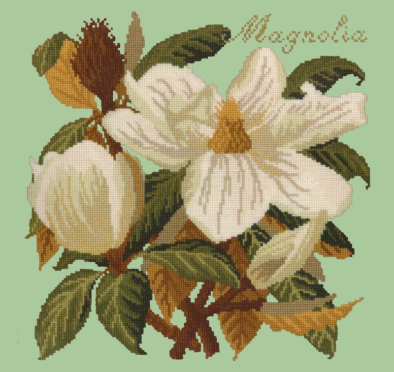 Magnolia Needlepoint Kit Elizabeth Bradley Design Pale Green