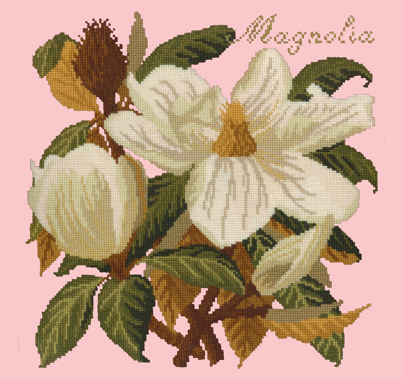 Magnolia Needlepoint Kit Elizabeth Bradley Design Pale Rose
