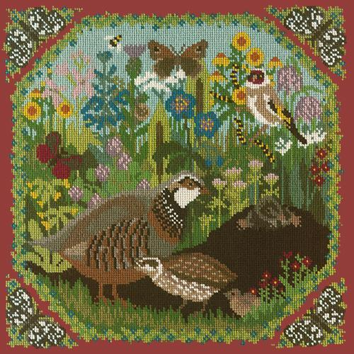 Meadow Needlepoint Kit Elizabeth Bradley Design Dark Red
