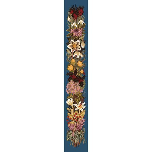 Midwinter Bell Pull Needlepoint Kit Elizabeth Bradley Design Dark Blue