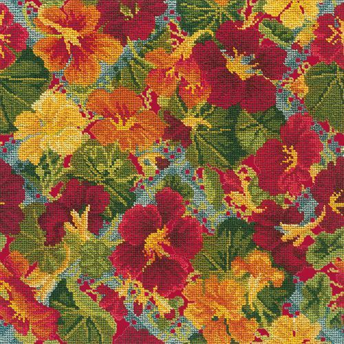 Nasturtium Trellis Needlepoint Kit Elizabeth Bradley Design Bright Red