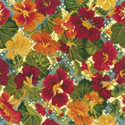 Nasturtium Trellis Needlepoint Kit Elizabeth Bradley Design Butter Yellow