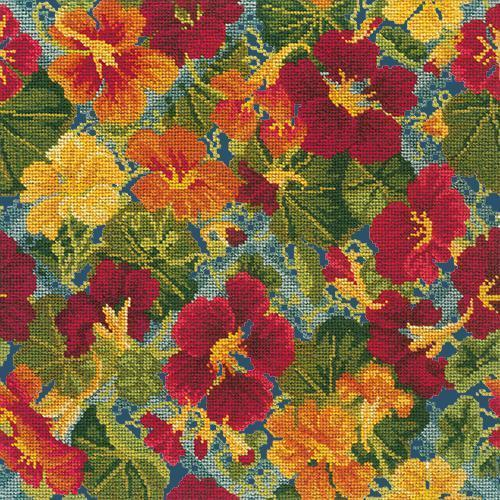 Nasturtium Trellis Needlepoint Kit Elizabeth Bradley Design Dark Blue