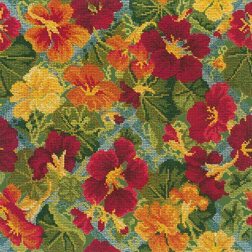 Nasturtium Trellis Needlepoint Kit Elizabeth Bradley Design Dark Green