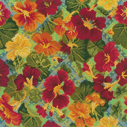 Nasturtium Trellis Needlepoint Kit Elizabeth Bradley Design Grass Green