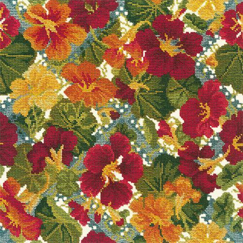Nasturtium Trellis Needlepoint Kit Elizabeth Bradley Design Winter White