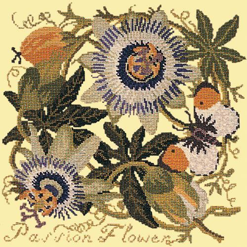 Passion Flower Needlepoint Kit Elizabeth Bradley Design Butter Yellow
