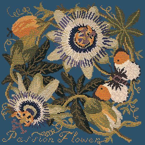 Passion Flower Needlepoint Kit Elizabeth Bradley Design Dark Blue