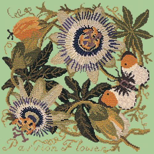 Passion Flower Needlepoint Kit Elizabeth Bradley Design Pale Green