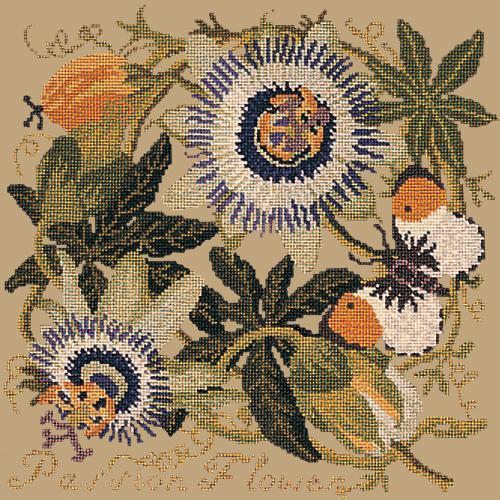 Passion Flower Needlepoint Kit Elizabeth Bradley Design Sand