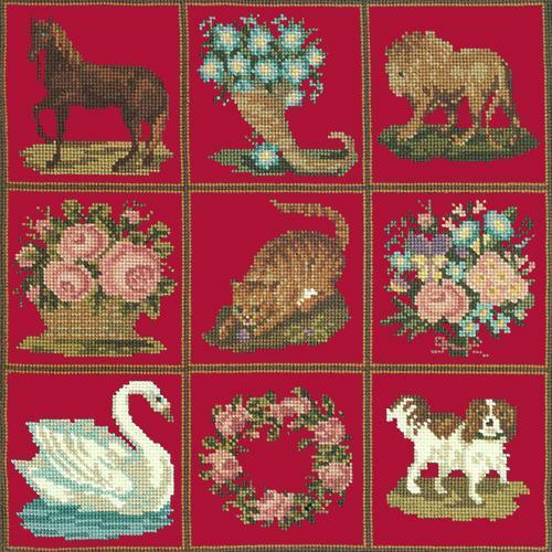 Patchwork Pieces Needlepoint Kit Elizabeth Bradley Design Bright Red