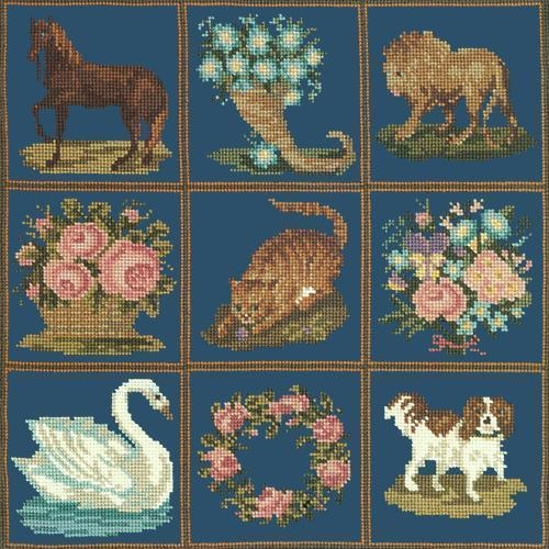 Patchwork Pieces Needlepoint Kit Elizabeth Bradley Design Dark Blue