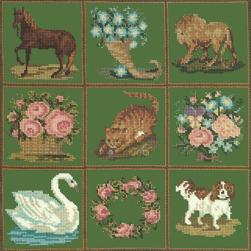 Patchwork Pieces Needlepoint Kit Elizabeth Bradley Design Dark Green