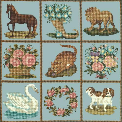 Patchwork Pieces Needlepoint Kit Elizabeth Bradley Design Pale Blue