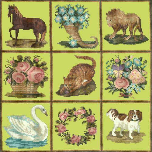 Patchwork Pieces Needlepoint Kit Elizabeth Bradley Design Pale Lime