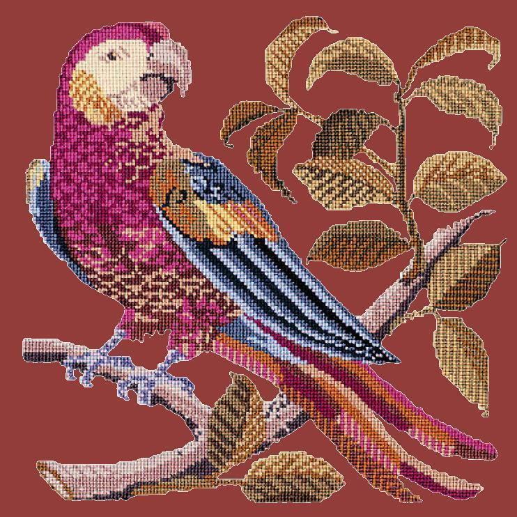 Pete the Parrot Needlepoint Kit Elizabeth Bradley Design Dark Red