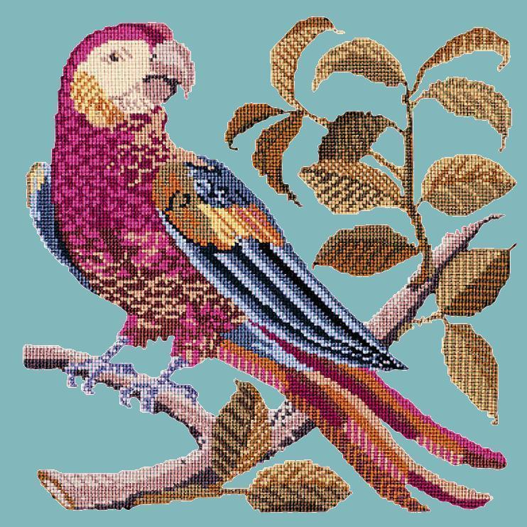 Pete the Parrot Needlepoint Kit Elizabeth Bradley Design Duck Egg Blue