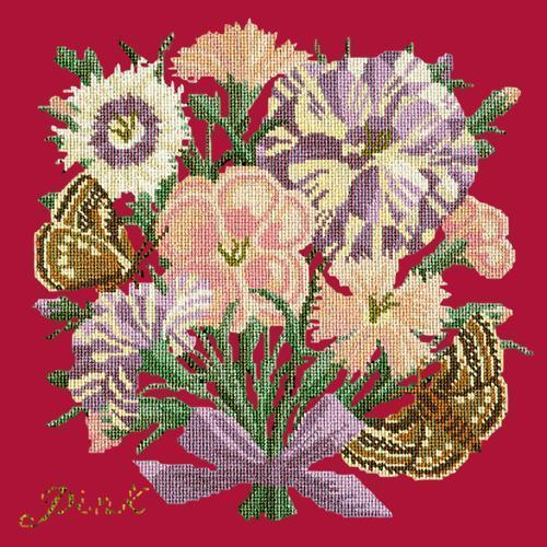 Pink Needlepoint Kit Elizabeth Bradley Design Bright Red