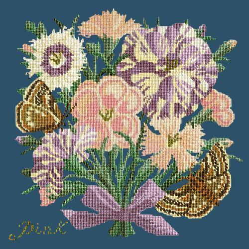 Pink Needlepoint Kit Elizabeth Bradley Design Dark Blue