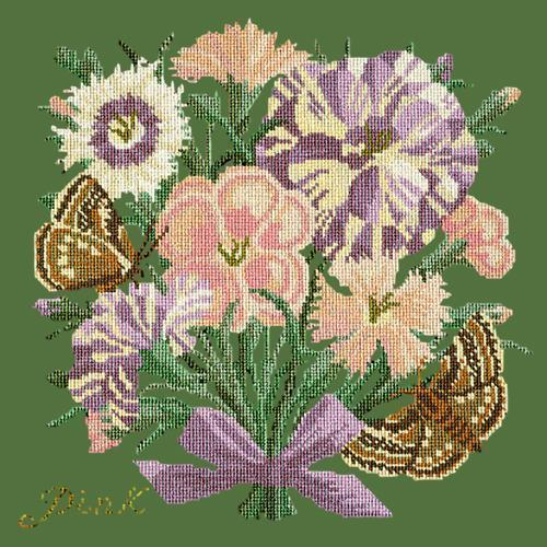 Pink Needlepoint Kit Elizabeth Bradley Design Dark Green