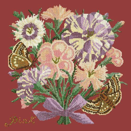 Pink Needlepoint Kit Elizabeth Bradley Design Dark Red