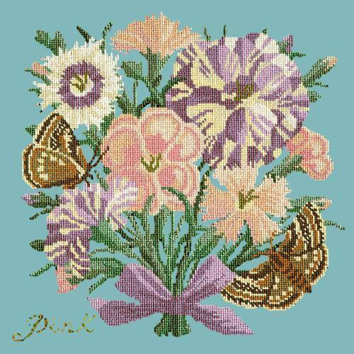Pink Needlepoint Kit Elizabeth Bradley Design Duck Egg Blue
