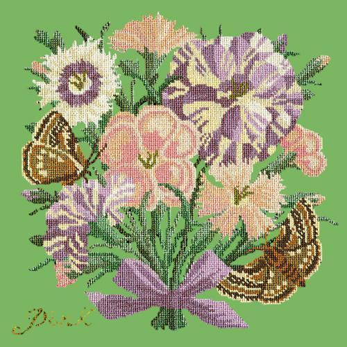 Pink Needlepoint Kit Elizabeth Bradley Design Grass Green