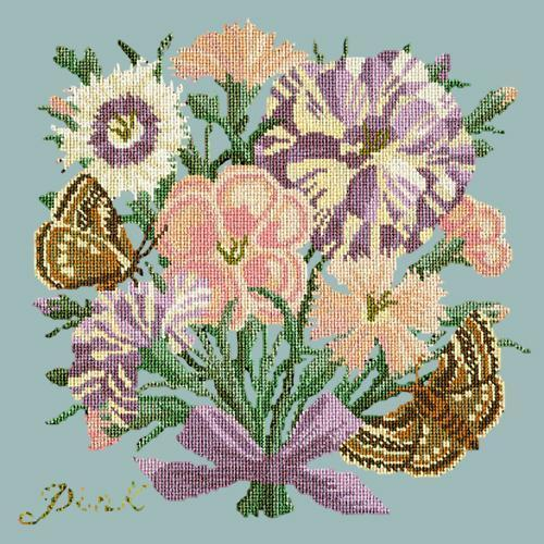 Pink Needlepoint Kit Elizabeth Bradley Design Pale Blue