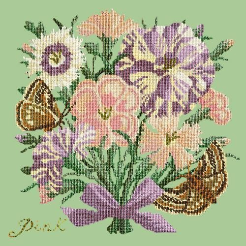 Pink Needlepoint Kit Elizabeth Bradley Design Pale Green