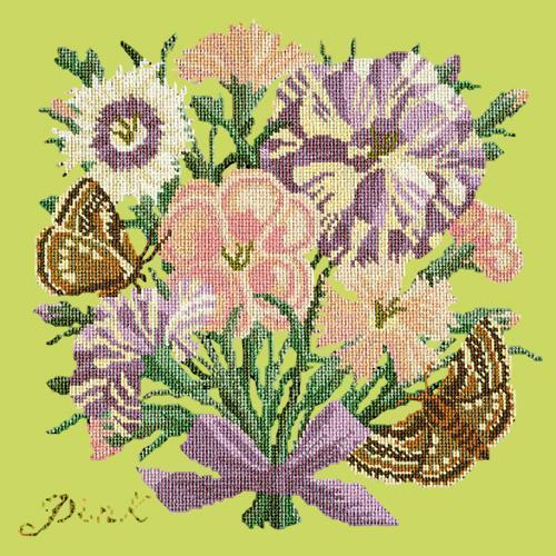 Pink Needlepoint Kit Elizabeth Bradley Design Pale Lime
