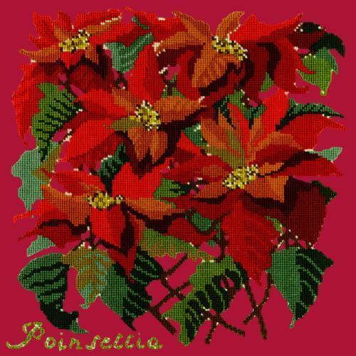 Poinsettia Needlepoint Kit Elizabeth Bradley Design Bright Red