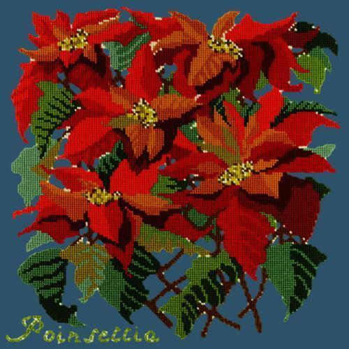 Poinsettia Needlepoint Kit Elizabeth Bradley Design Dark Blue