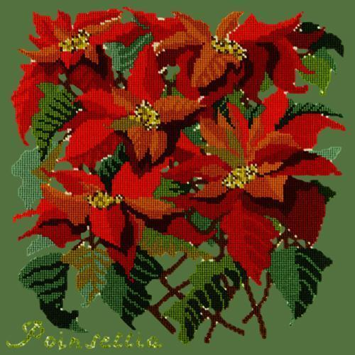 Poinsettia Needlepoint Kit Elizabeth Bradley Design Dark Green